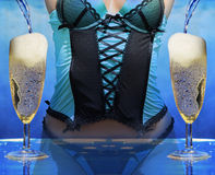 Sexy woman at a champagne celebration party Stock Images