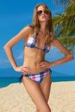 Sexy woman in checkered bikini Stock Images