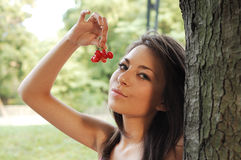 woman with cherries Royalty Free Stock Photography