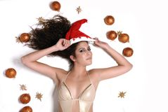 Sexy woman and christmas balls Stock Images