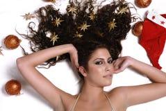 Sexy woman and christmas balls Royalty Free Stock Photography