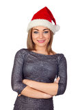 Sexy woman with a Christmas hat Royalty Free Stock Image