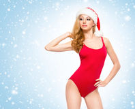 A sexy woman in Christmas lingerie on a snowy background Stock Image