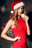 Sexy woman in Christmas Santa hat in elegant red dress Stock Image
