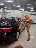 Sexy woman cleaning car Royalty Free Stock Photos