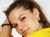 Woman closeup portrait. Woman playing with her hair closeup portrait Stock Photos