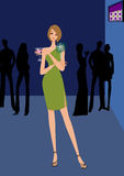 woman with cocktail in nightclub royalty free illustration