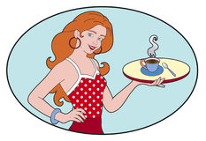 Woman and coffee. A woman serving coffee on a tray Vector Illustration