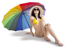 Sexy woman with colorful umbrella Royalty Free Stock Images