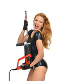 Sexy woman contractor worker with construction drill perforatorw Stock Photos