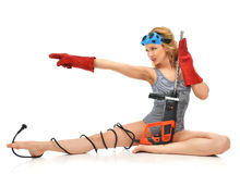 Sexy woman contructor worker sitting with construction drill wit Royalty Free Stock Images