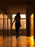 Sexy woman in corridor Stock Photos