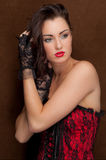 Sexy Woman in Corset and Gloves Stock Photography
