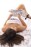 Sexy woman counting money Royalty Free Stock Images