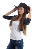 Woman with cowboy hat. Isolated on white Royalty Free Stock Photo