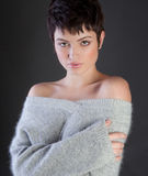Sexy Woman in Cozy Sweater Royalty Free Stock Photo