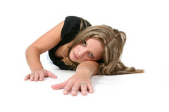 Sexy woman crawling on floor. Sexy woman in black shirt crawling on floor Stock Photo