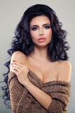Sexy Woman with Curly Hair and Perfect Makeup. Fashion. Sexy Brunette Woman with Curly Hair and Perfect Makeup. Beautiful Fashion Model, Permed Hairstyle and Stock Images