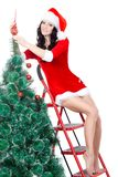 Sexy woman decorating the fur tree on stepladder Stock Photos