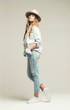 woman in denim shirt and hat royalty free stock images