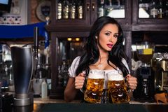 woman in dirndl dress holding Oktoberfest beer stein. royalty free stock images
