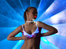 Sexy woman in disco dance with ultraviolet make-up Royalty Free Stock Photo