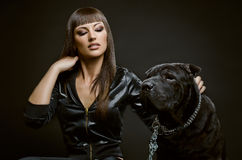Sexy woman with dog Stock Images