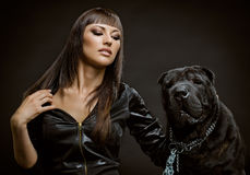 Sexy woman with dog Royalty Free Stock Photo