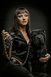 Sexy woman with dog Royalty Free Stock Photos
