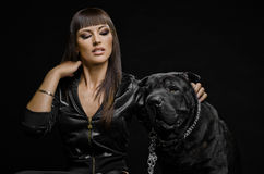 Sexy woman with dog Stock Image