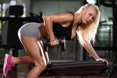 Sexy Woman Doing Exercise For Back Stock Images