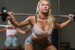 Sexy Woman Doing Exercise Barbell Squat Royalty Free Stock Image