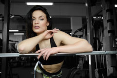 Sexy woman doing exercises in gym. Fitness strength training workout bodybuilding concept background - muscular bodybuilder sexy woman doing exercises in gym Royalty Free Stock Images