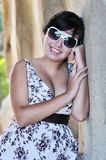 Sexy woman in dress with sunglasses Royalty Free Stock Photos
