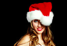 Sexy woman dressed as Santa Stock Photos