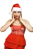 Sexy woman dressed as Santa Claus. On a white background Stock Photos