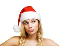 Sexy woman dressed as Santa Claus Stock Images