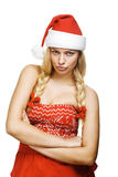 Sexy woman dressed as Santa Claus. On a white background Stock Image