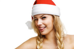 Sexy woman dressed as Santa Claus. On a white background Stock Photo