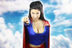 woman dressed as super hero fly Royalty Free Stock Image