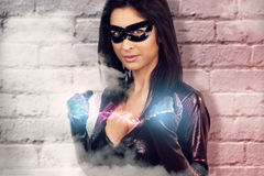 Sexy woman dressed as a super hero Royalty Free Stock Photo