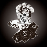 Black and White Sugar Skull Woman Stock Photos