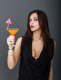 woman drinks cocktail Royalty Free Stock Photo