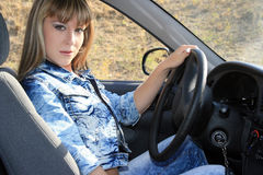 Sexy woman-driver Stock Photos