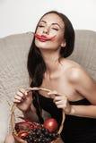 woman eating fruits royalty free stock image