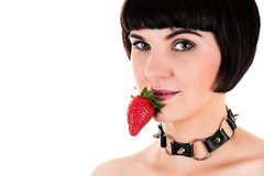 Sexy woman eating strawberry Royalty Free Stock Photography