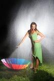 Sexy Woman Embracing the Rain Stock Photo