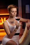 woman enjoying glass of wine stock image