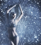 A sexy woman in erotic lingerie on the snow Royalty Free Stock Photos