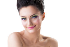 Sexy woman with evening make-up posing at camera Royalty Free Stock Photos